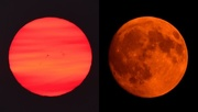 6th Sep 2017 - Montana Haze Casts Shades of Orange on Kansas Sunrise and Moon on Same Day