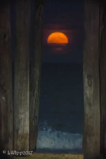 Behind the Pillars That's Where I'll Be as the Harvest Moon rises in OC .... by lesip