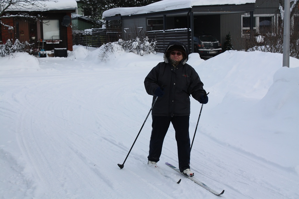 Skiing on the road IMG_2906 by annelis