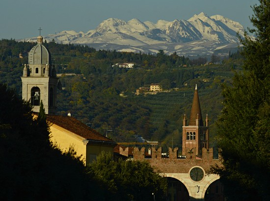 Snow capped mountains from Verona by caterina