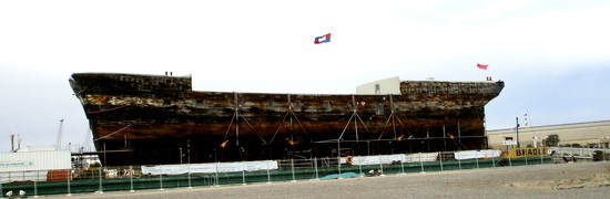 The  Adelaide in dry dock being repaired after spending years submerged in the Clyde River. by 777margo