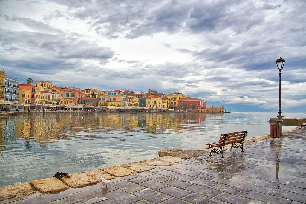 Old Venetian harbour in Chanai Greece by gardencat