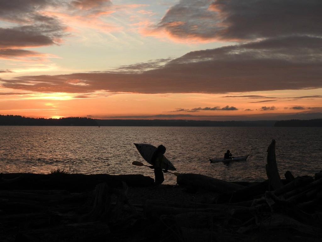 Sunset Kayakers  by seattlite