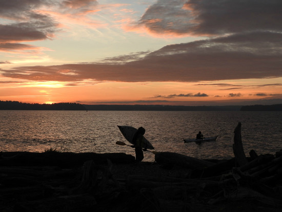 Sunset Kayakers  by seattlite