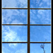 Sky through window in Eisenhower Hall stairwell by mcsiegle