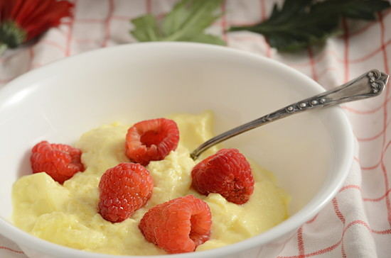 Egg Custard and raspberries by francoise