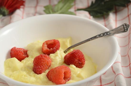 Egg Custard and raspberries by francoise