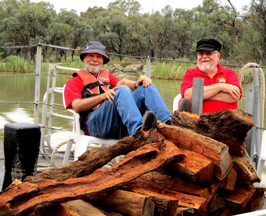 Voluntary wood choppers, who kept our Paddle Steamer going along the Murray River at Loxton by 777margo