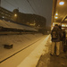 Waiting for the train in the snow