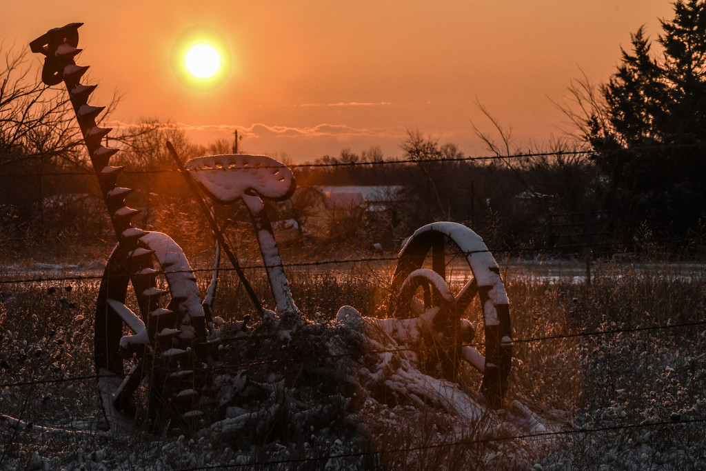 Snow and Sun-Laden Tractor by kareenking
