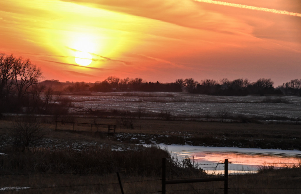 Kansas Winter Scene with Sunset by kareenking