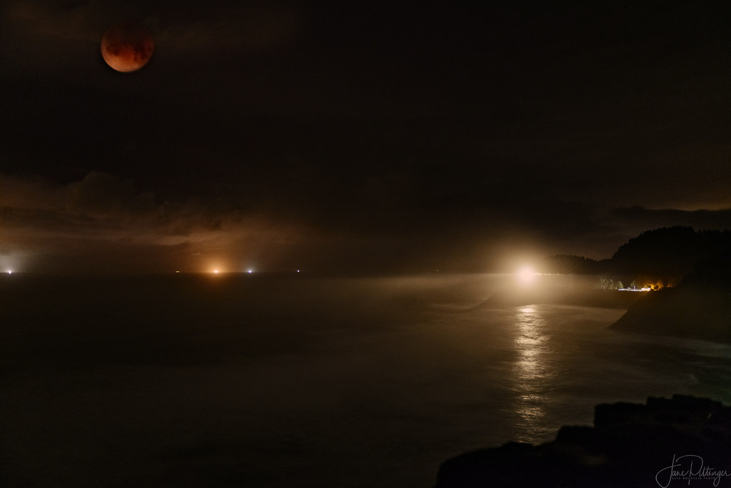 Blood Moon, Crab Boats and Lighthouse by jgpittenger
