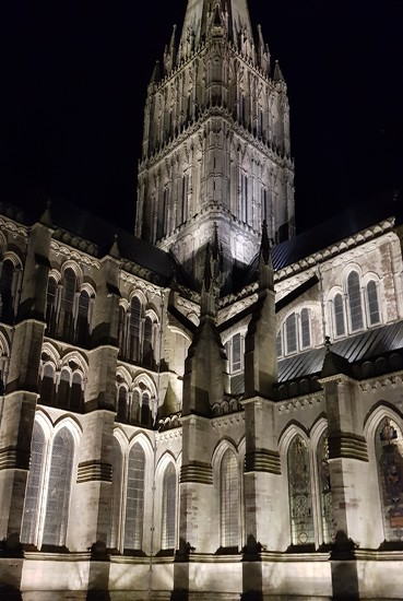 Salisbury Cathedral Floodlit by megpicatilly