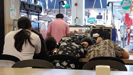 Sleeping in the Food Court by fotoblah