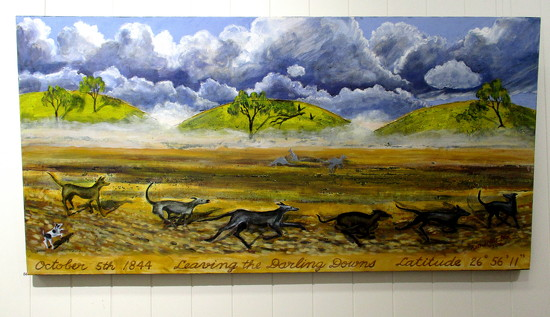 One of the paintings at the Art Exhibition.  The dogs age put on as a collage by 777margo