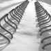 Bicycle rack in snow