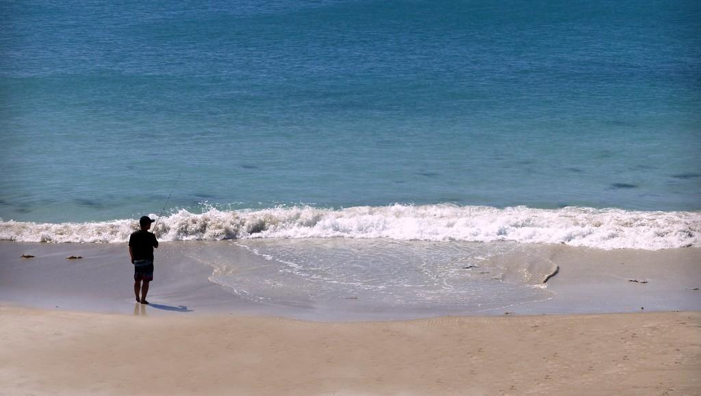 Lone Fisherman on Dolphin Beach by judithdeacon