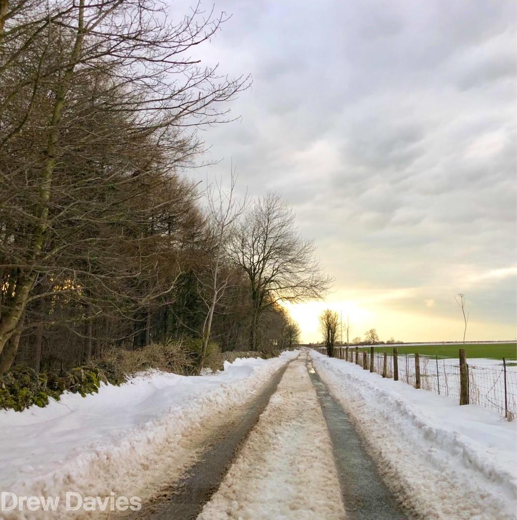 Snowy sunset drive by 365projectdrewpdavies