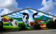 14th Apr 2018 - Big Cow   Do you remember me putting up a shot of The big cow, recently.  Well I think this is where she ended up.  This is painted on the wall of a Butchers shop