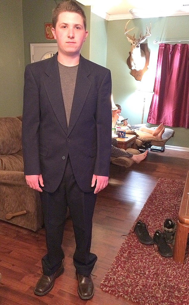 My baby can wear my hubby's suit? by homeschoolmom