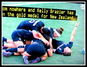 16th Apr 2018 - Kiwi Womens Rugby Sevens players  celebrating their (only just) win against Australia in the Commomwealth Games this afternoon