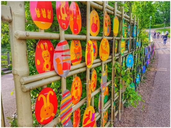 A stroll through the park and some of the children's Easter artwork on display  by lyndamcg