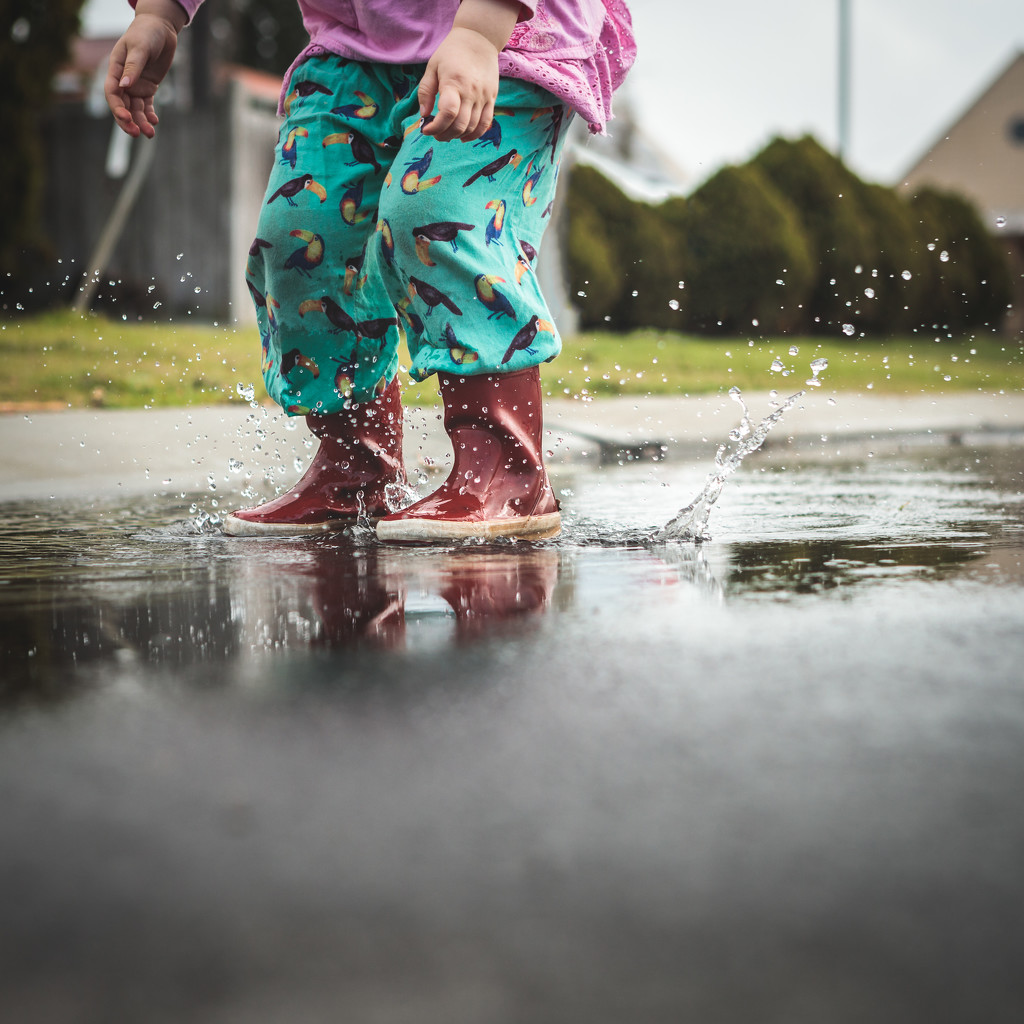 Good weather for jumping in puddles by jodies