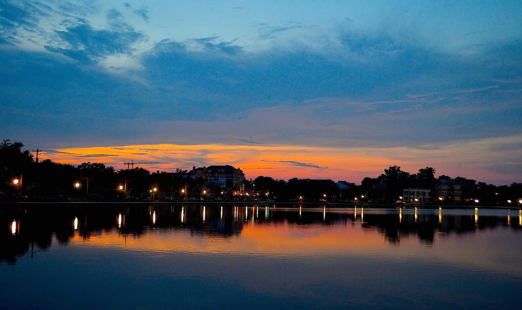 Sunset at Colonial Lake, Charleston, SC by congaree
