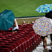 Three Umbrellas in the Stadium