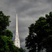 Steeple with rain clouds by mittens