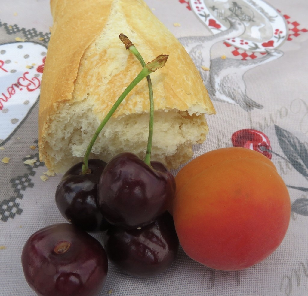 Bread and fruit by lellie