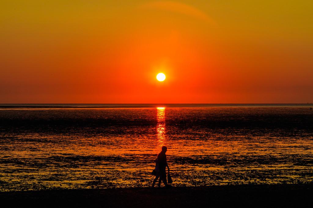 Walk at sunset by padlock