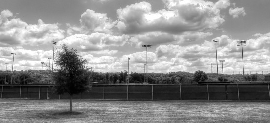 Baseball field in black and white by mittens