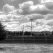 Baseball field in black and white