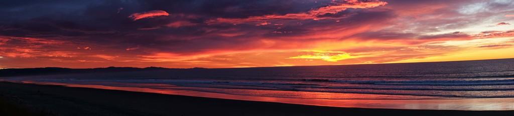 Panorama - Sunrise at Waikuku Beach by maureenpp