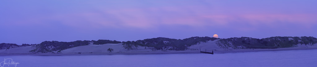 Smokey Sunset Over the Dunes Pano  by jgpittenger