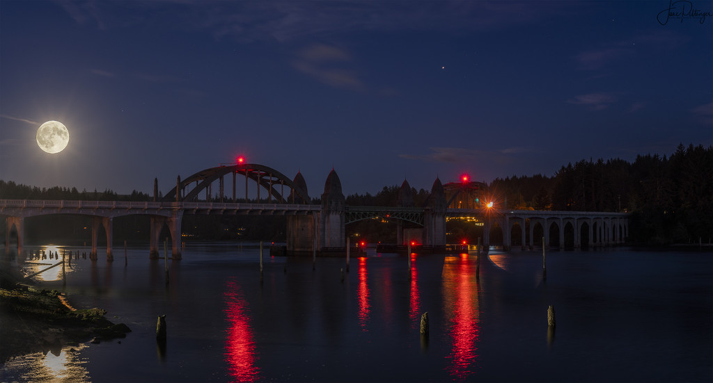 Sturgeon Moon Rising Over Bridge by jgpittenger