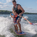 My son and grandson wake surfing