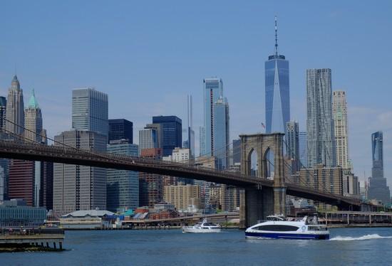 Downtown Manhattan and Brooklyn Bridge  by soboy5