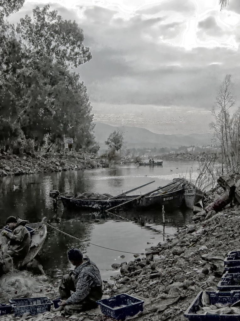 Fishermen at the Jordan River by olivetreeann