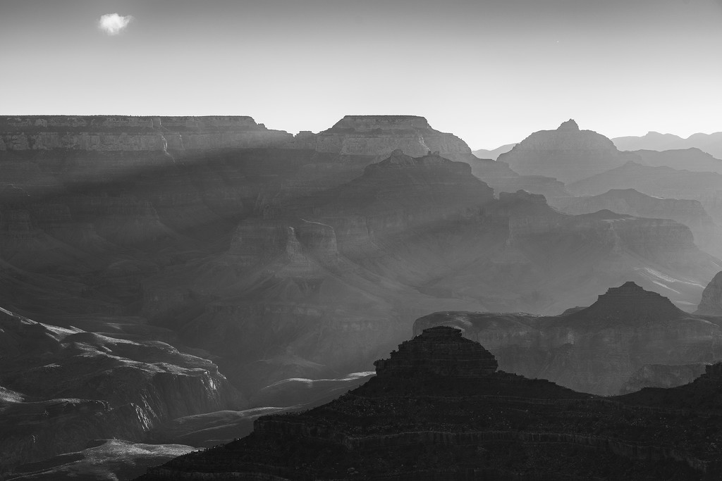 Black and White Rays At Yavapai Point Dawn by jgpittenger