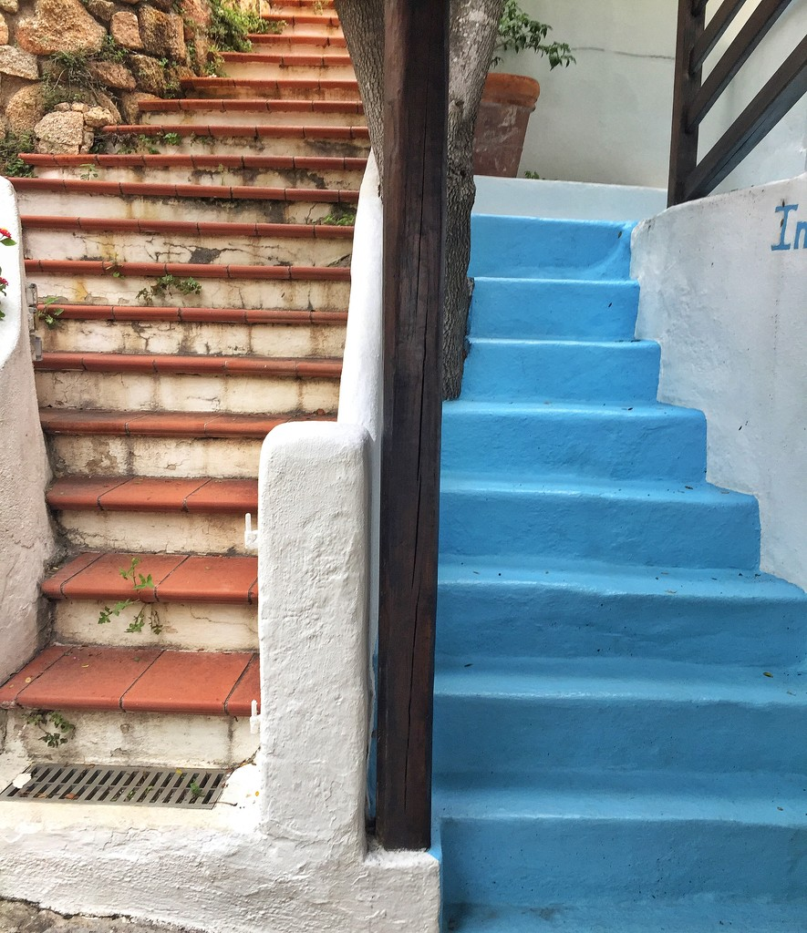 Orange stairs/ blue stairs.  by cocobella