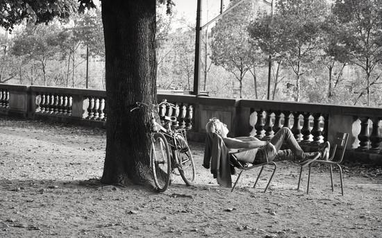 Snoozin' Cyclist  by alophoto