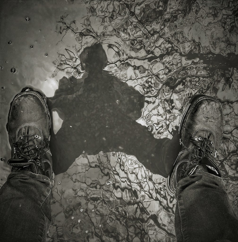 puddle selfie with boots on by jack4john