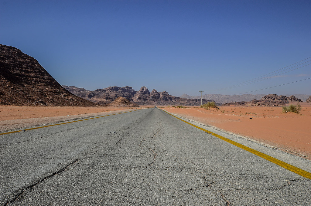 Arriving in the Desert of Wadi Rum.  by caterina