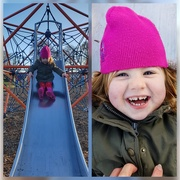 18th Nov 2018 - Sophia having fun on the slide, and having a giggle when I tickled her at the bottom!