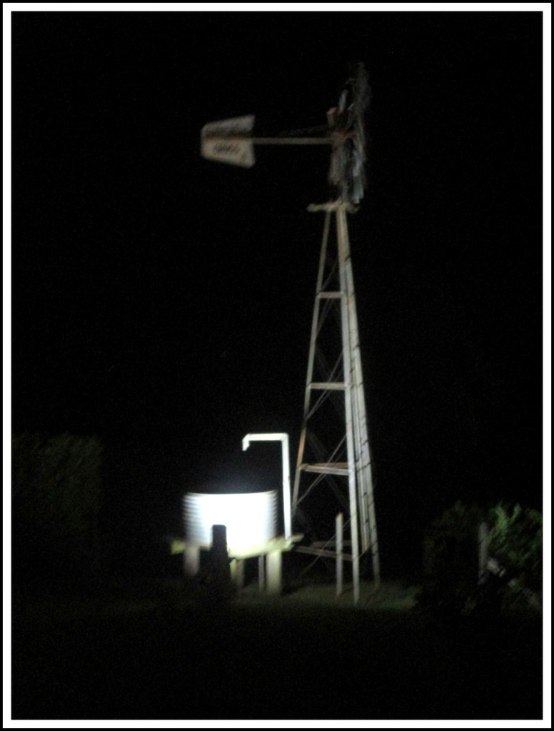 Windmill lit up at  Flaxton Gardens On the Range by 777margo