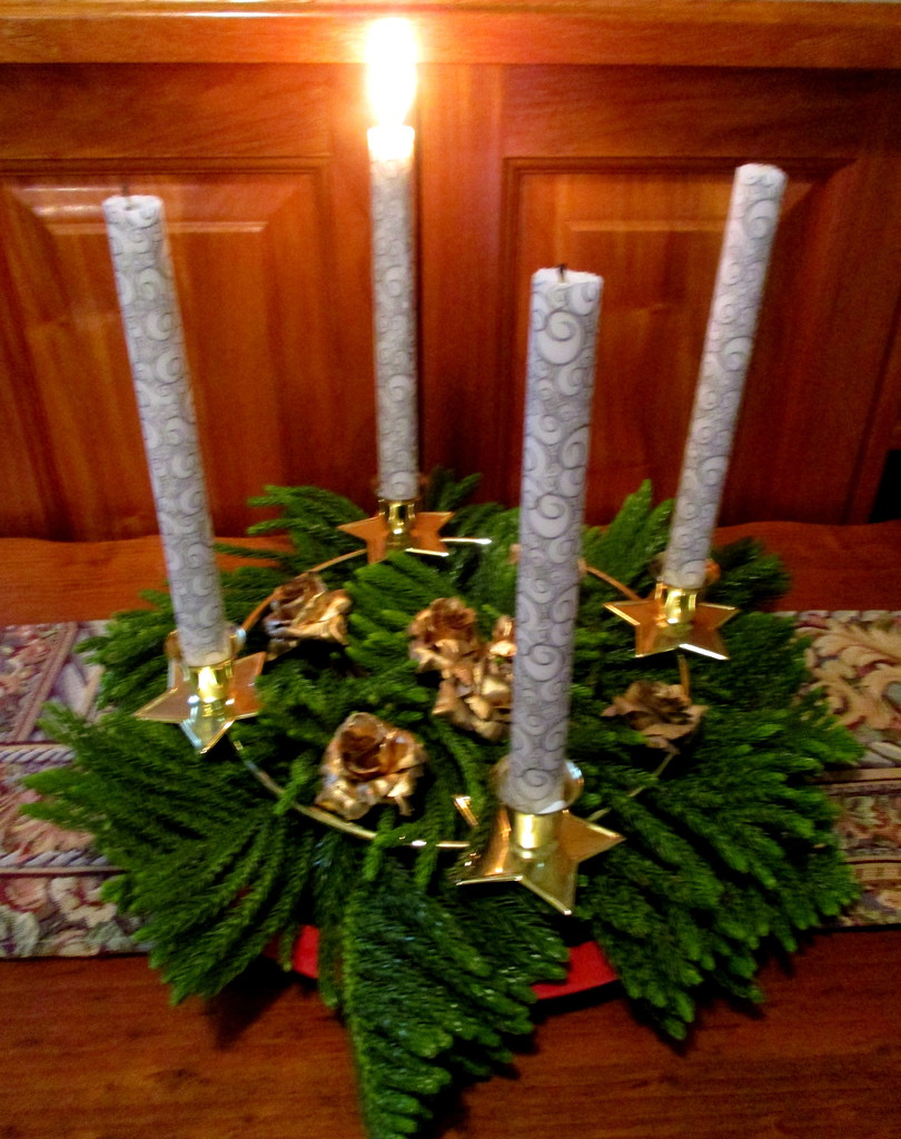 This is my Advent wreath for the first Sunday in Advent by 777margo
