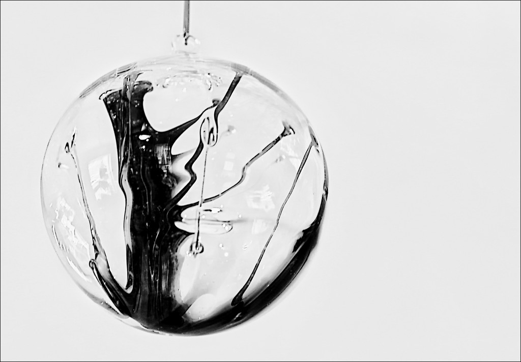 Black and White Tree in an Ornament of Glass by olivetreeann
