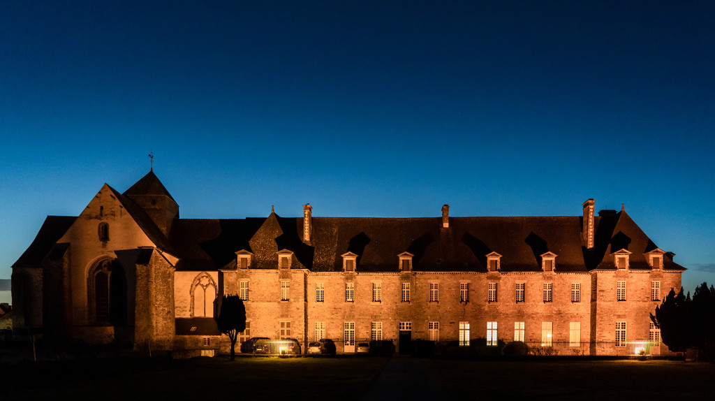 Paimpont 2018: Day 260 - Paimpont Abbey Floodlit by vignouse